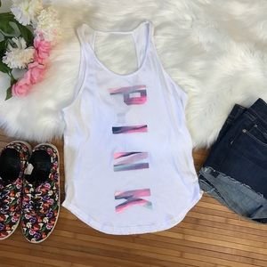 Pink VS spell out , cut out back tank top